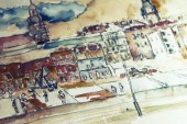 Watercolor cityscape with houses illustration.
