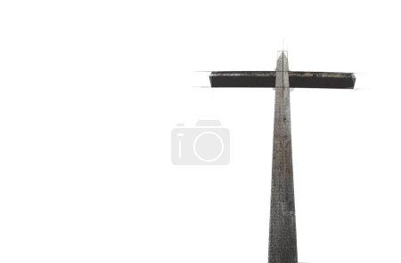 Photo pour Croix en bois sur fond blanc croquis - image libre de droit