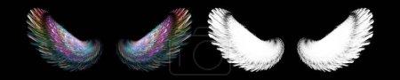 Photo pour Aile abstraite d'ange de fée avec masque de coupe blanc - image libre de droit