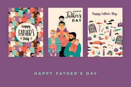 Illustration pour Joyeuse fête des Pères. Modèles vectoriels. Élément de conception pour carte, affiche, bannière, flyer et autre utilisation . - image libre de droit