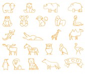 Zoo hand drawn with felt-tip pens icons set