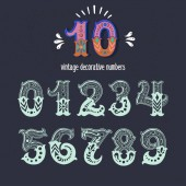 Set of vintage ornate circus style numbers Hand drawn decorative numerals for birthday invitations cards prints posters wedding table cards and apparel