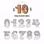 Set of vintage ornate circus style numbers Hand drawn decorative numerals for birthday invitations announcement cards prints posters wedding table cards and apparel