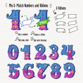 Set of vintage ornate circus style numbers and ribbon banners for text Hand drawn decorative numerals for birthday invitations announcement cards prints posters wedding table cards and apparel