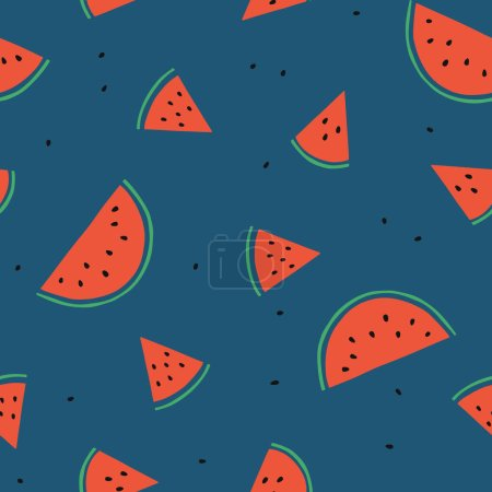 Illustration for Simple watermelon vector seamless pattern. Fruit repeated background. Summer organic pattern for textile and decoration design. Abstract summer backdrop. Vegetarian healthy food illustration - Royalty Free Image