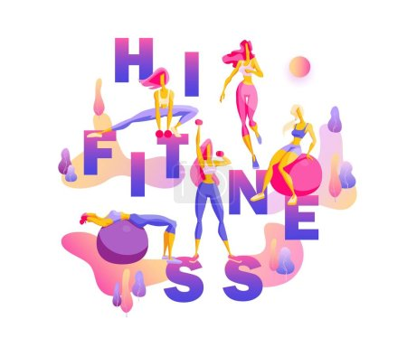 Hi Fitness Creative illustration with text and bea...