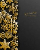 Christmas holiday design with 3d golden snowflakes on black background