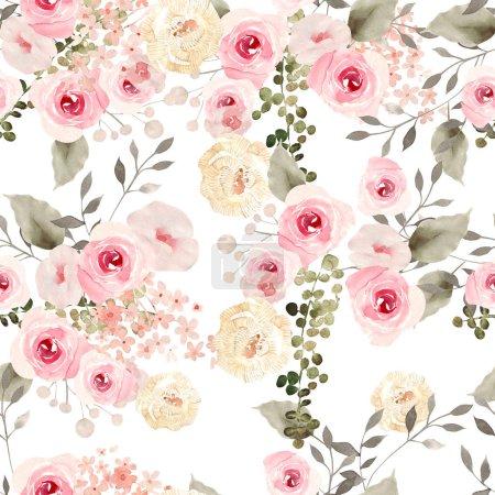 Photo pour Magnifique motif aquarelle sans couture avec des fleurs de roses. Illustration - image libre de droit