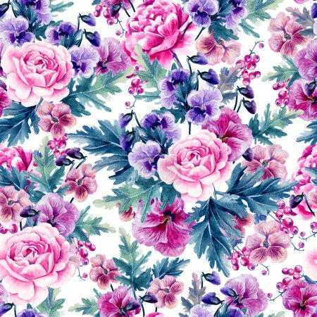 Photo for Bright watercolor seamless pattern with peony, roses and violet flowers,berries. Illustration - Royalty Free Image