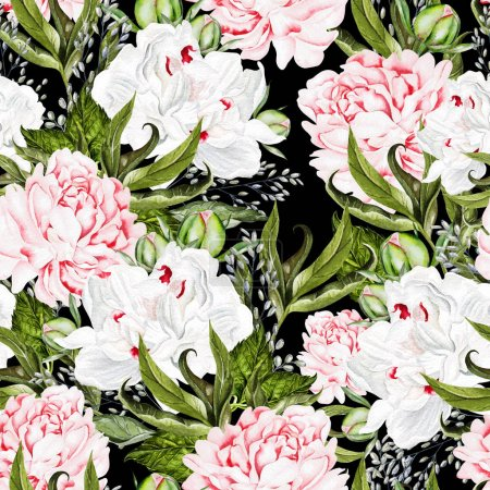 Photo for Beautiful watercolor seamless pattern with peony flower. Illustration - Royalty Free Image