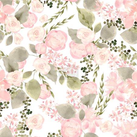 Photo pour Motif coloré lumineux sans couture avec des fleurs de roses et de baies. illustration - image libre de droit