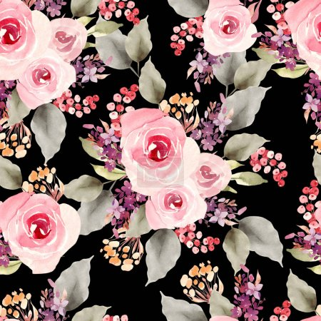Photo for Bright colorful seamless pattern with flowers of roses and berry. Illustration - Royalty Free Image