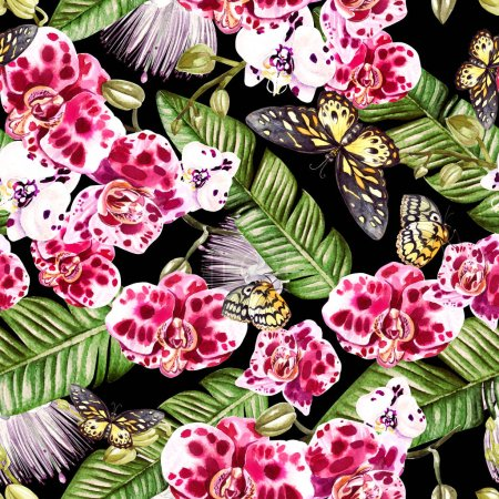 Beautiful watercolor pattern with orchid flowers, palm leaves and butterfly.