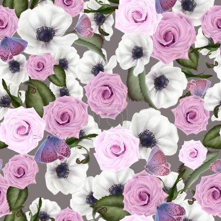 Piękny kolorowy wzór z róż i kwiatów anemon, liście.