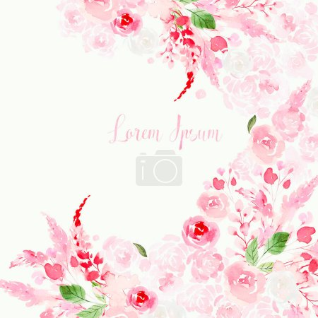 Beautiful Watercolor card with roses and peony flowers.
