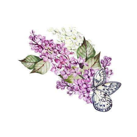 Photo pour Bouquet de mariage aquarelle avec des fleurs lilas. Illustration - image libre de droit
