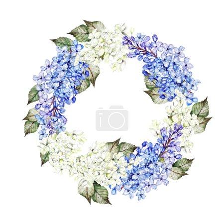 Photo pour Couronne de mariage aquarelle avec des fleurs lilas. Illustration - image libre de droit