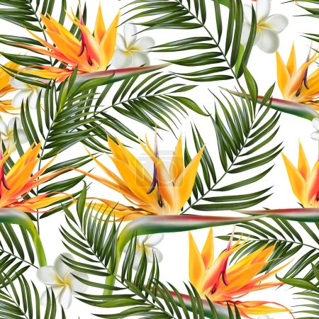 Photo for Beautiful digital seamless pattern with tropical leaves, plumeria flowers and strelitzia flowers. Illustration - Royalty Free Image
