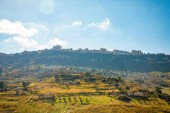 A view of the ancient city Enna from the highway towards Catania on mountain in Sicily island, Italy