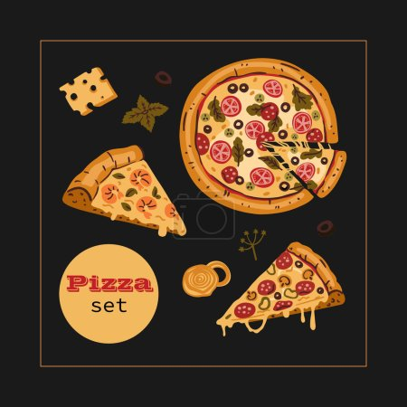 Photo for A set of large round pizza, two slices and ingredients. Traditional Italian fast-foot in cartoon style. Isolated on a black background. For the design of flyers, posters and web - Royalty Free Image