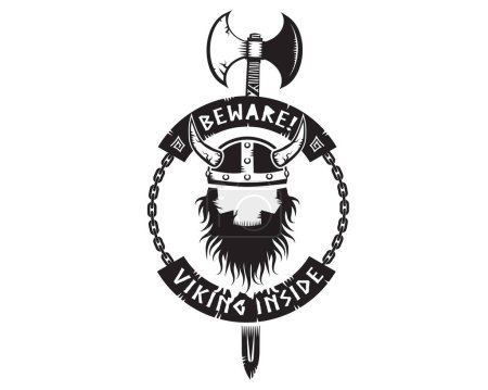 Beware viking inside logo vector...
