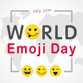 World Emoji Day with lettering and smiling emoticon july 17th Happy yellow smiley in a flat design and text World Emoji Day on world map background Vector emoticon joy icons