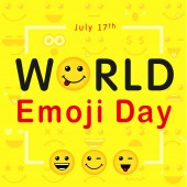 World Emoji Day with lettering of line art emoticons Happy yellow smiley in a flat design and text World Emoji Day on yellow background Vector emoticon joy icons