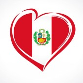 Love Peru greeting card flag with coat of arms 28 July Peru Independence Day banner background with heart in flag colors Flag in the shape of heart in grungy style