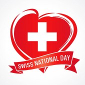 Swiss National Day banner with heart in flag color and ribbon National holiday in Switzerland 1 August 1291 vector greetings card Celebration Swiss Confederation anniversary of Foundation date