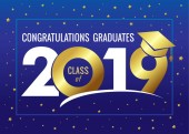 Graduating class of 2019 vector illustration Class of 2019 design graphics for decoration with golden colored for design cards invitations or banner