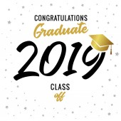 Calligraphy graduating class of 2019 vector illustration Class of 20 19 design graphics for decoration with golden and black colored for design cards invitations or banner