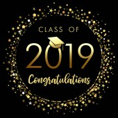 Class of 2019 graduation poster with gold glitter confetti Class of 20 19 congratulations design graphics for decoration with golden colored for design cards invitations or banner