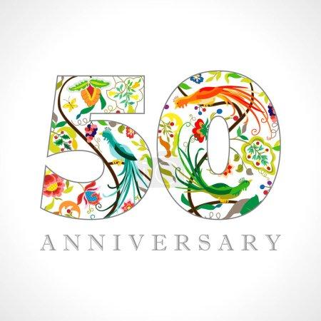 Illustration pour Logotype de 50 ans. 50 ans. Symbole décoratif. Félicitations aux oiseaux de paon. Modèle de conception graphique abstrait isolé. Chiffres de couleur royale. Jusqu'à 50 % réduction pour cent . - image libre de droit