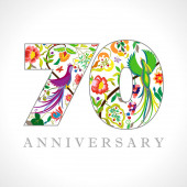 70 years old logotype 70 th anniversary numbers Decorative symbol Age congrats with peacock birds Isolated abstract graphic design template Royal colorful digits Up to 70% percent off discount