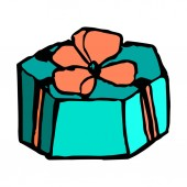 Blue gift box with a bow doodle hand draw Vector illustration on isolated background