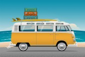Old School Camper Mini Van With Surf board and luggage on the roof Vector Illustration