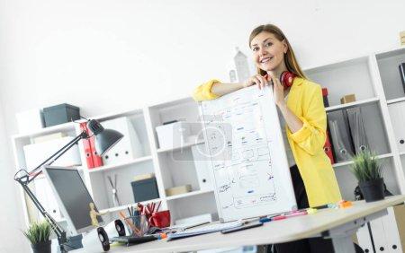 Photo pour Une belle jeune fille aux cheveux roux portant un T-shirt blanc et une veste jaune travaille dans un bureau lumineux. photo avec profondeur de champ - image libre de droit