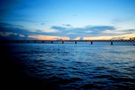 Photo for Beautiful Evening in Padma Bridge Under Construction Area,The photo was taken from Padma Bridge, Padma River,Maoa on 18th October 2020. - Royalty Free Image
