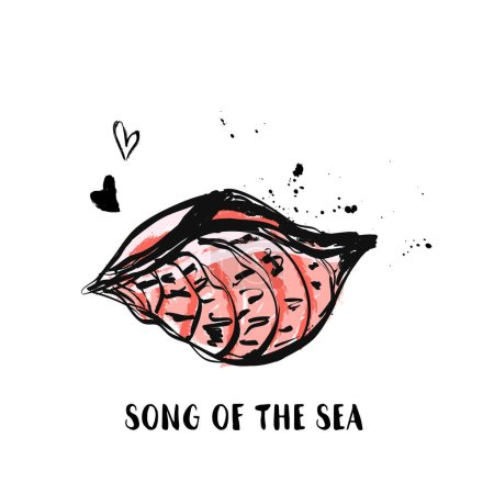 Hand Draw Sea Shell grunge design with ink stains