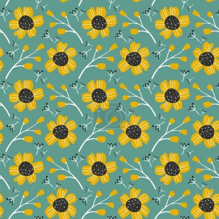 Photo for Orange flowers and berries on blue background, vector seamless pattern. - Royalty Free Image