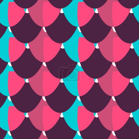 Illustration for Seamless abstract vector pattern with colorful circular shapes in pink and blue. The design is perfect for wallpaper, backgrounds, wrapping paper, sheets, clothes, stationary and decorations. - Royalty Free Image