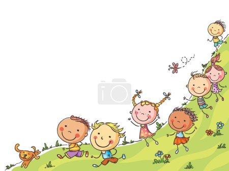 Photo pour Enfants heureux dessin animé courir, cadre vectoriel avec un espace de copie, coloré - image libre de droit