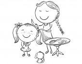 Happy mother combing her daughter's hair vector illustration