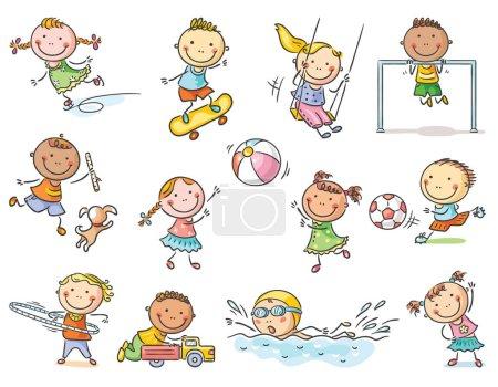 Illustration pour Activités pour petits enfants de dessin animé - jeux en plein air ou sports, ensemble de 12 enfants, pas de dégradés - image libre de droit
