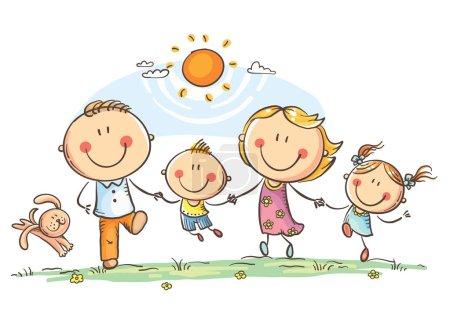 Illustration pour Famille heureuse avec deux enfants qui s'amusent à courir dehors, dessin vectoriel - image libre de droit
