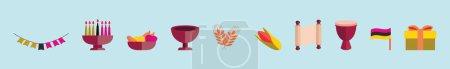 Illustration pour Ensemble de modèle de conception d'icône de dessin animé de symbole hanukkah avec divers modèles. illustration vectorielle isolée sur fond bleu - image libre de droit