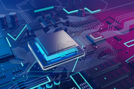 Photo for CPU and Computer chip concept 3d illustration - Royalty Free Image