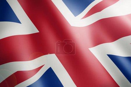 Photo pour Drapeau du Royaume-Uni souffle le vent. Gros plan. - image libre de droit