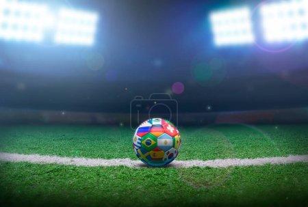 Photo pour Ballon de football dans le stade - image libre de droit