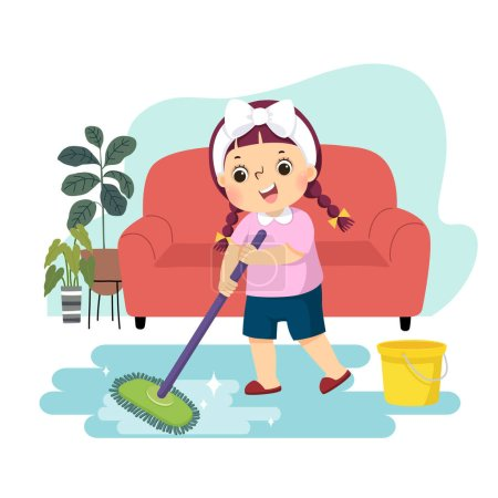 Vector illustration cartoon of a little girl mopping the floor. Kids doing housework chores at home concept.